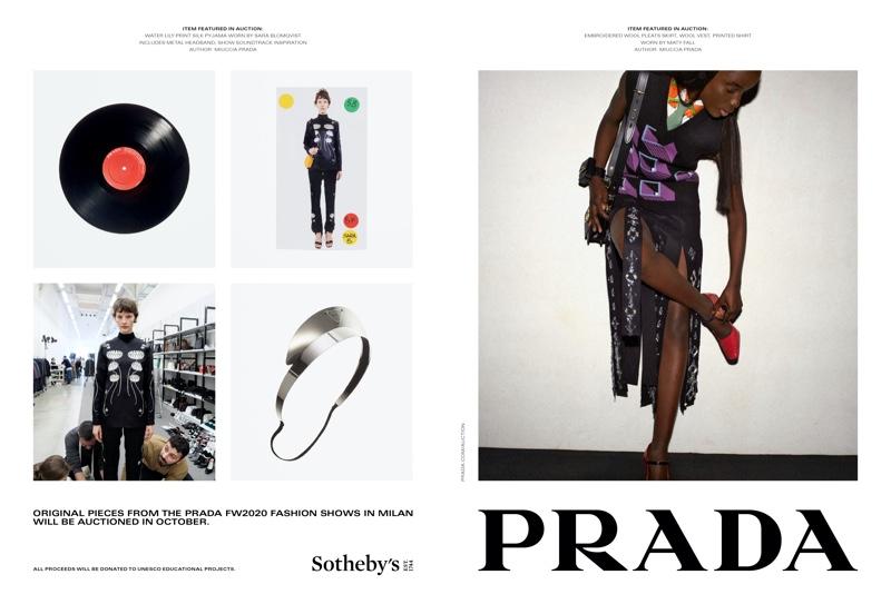 Sara Blomqvist and Maty Fall pose for Prada fall-winter 2020 campaign.