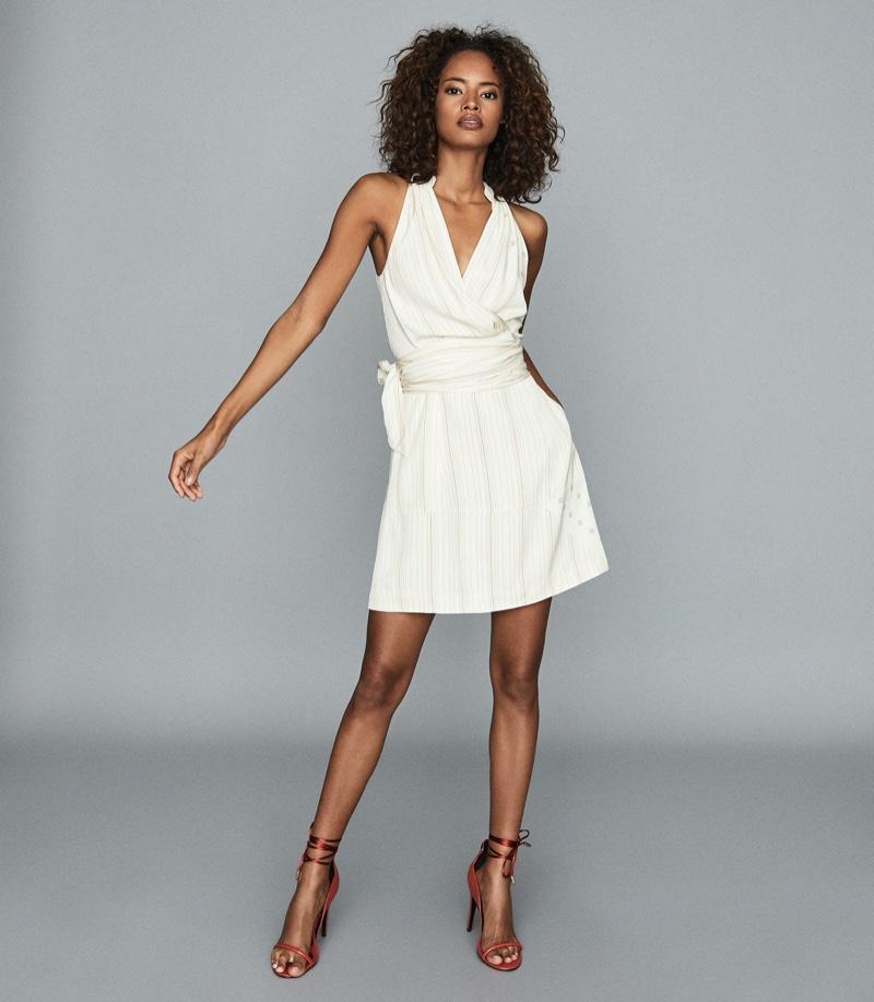 REISS Beth Halterneck Printed Mini Dress $370