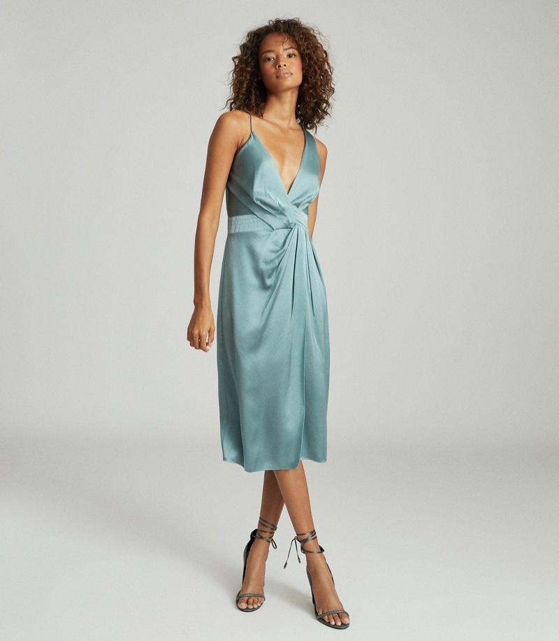 REISS Charlie Satin Twist-Front Midi Dress $425