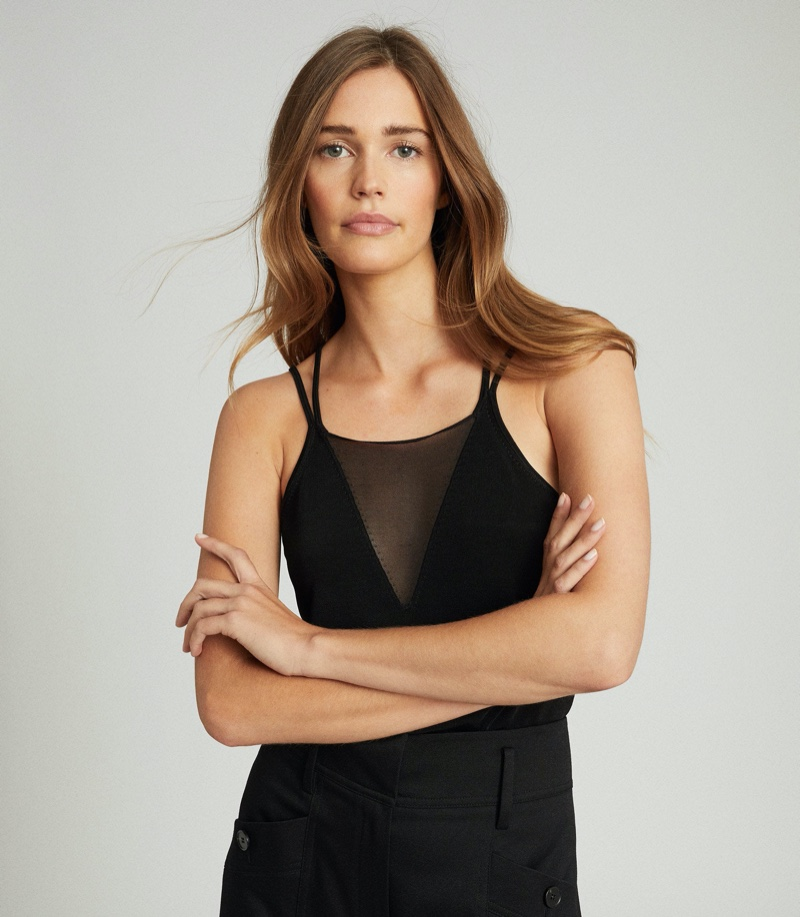 REISS Darcy Sheer Panel Cami in Black $180