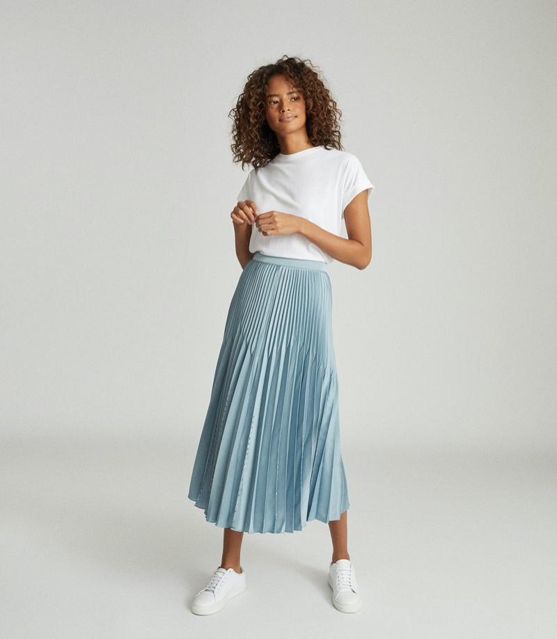 REISS Diana Pleated Midi Skirt $330