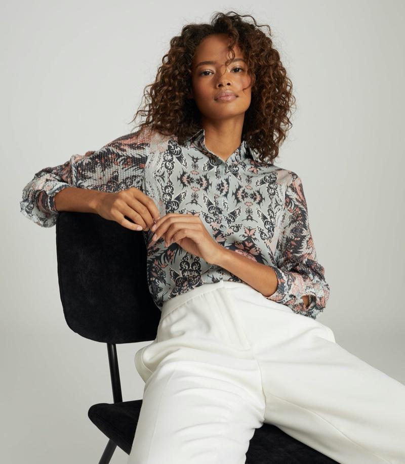 REISS Emmy Paisley Printed Shirt $275