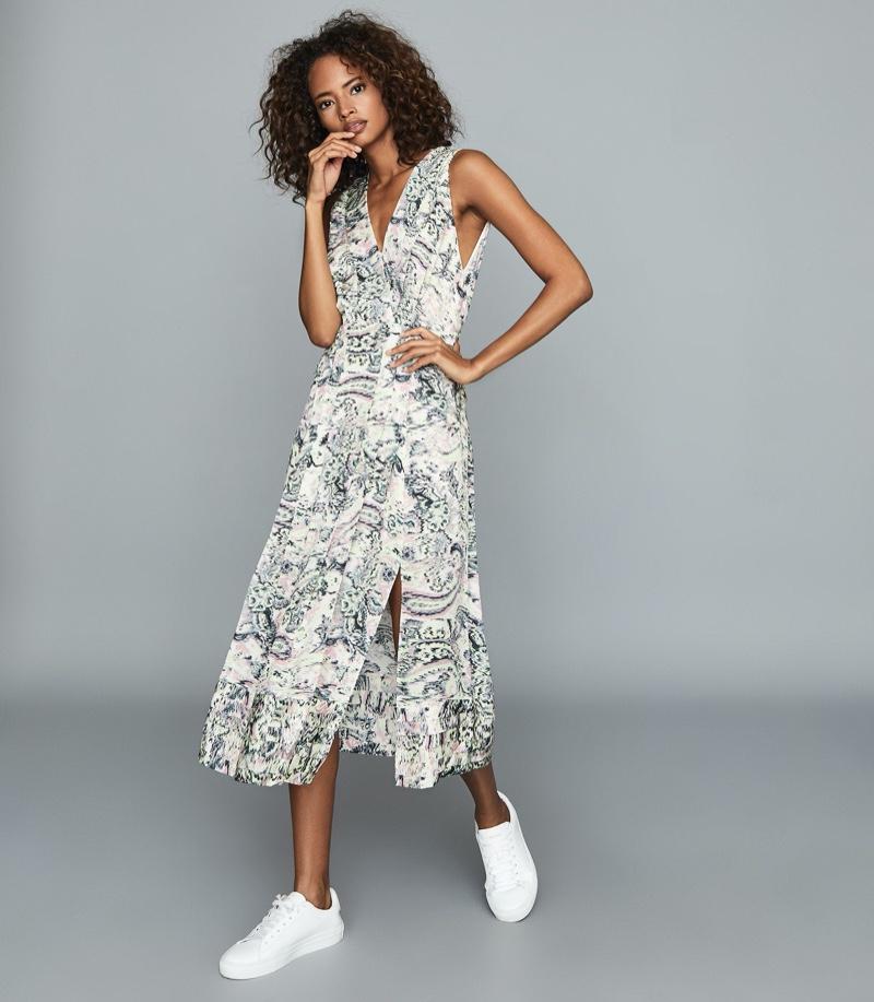 REISS Marcy Printed Midi Dress $370