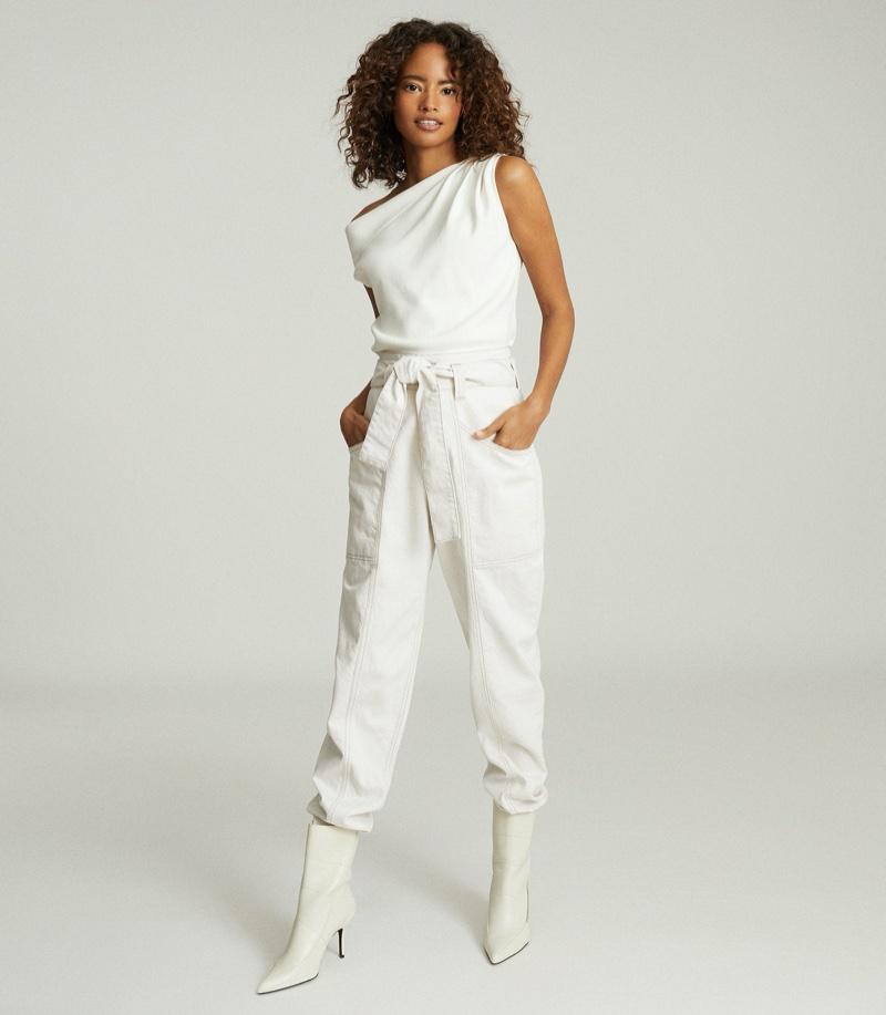 REISS Miranda Drape Shoulder Sleeveless Top in White $180