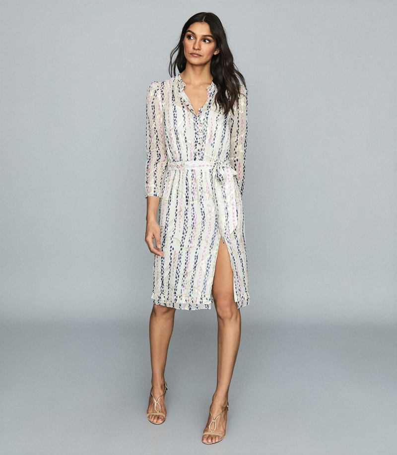 REISS Skyla Detailed Chiffon Dress $495