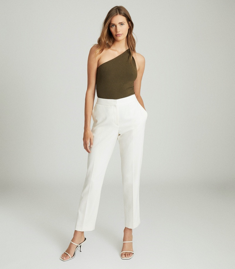 REISS Thea Twist-Detail One-Shoulder Top in Khaki $180
