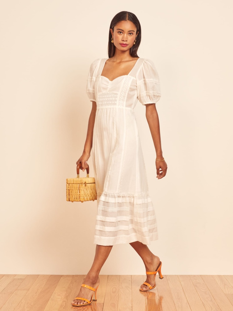 Reformation Norwich Dress in Ivory $278