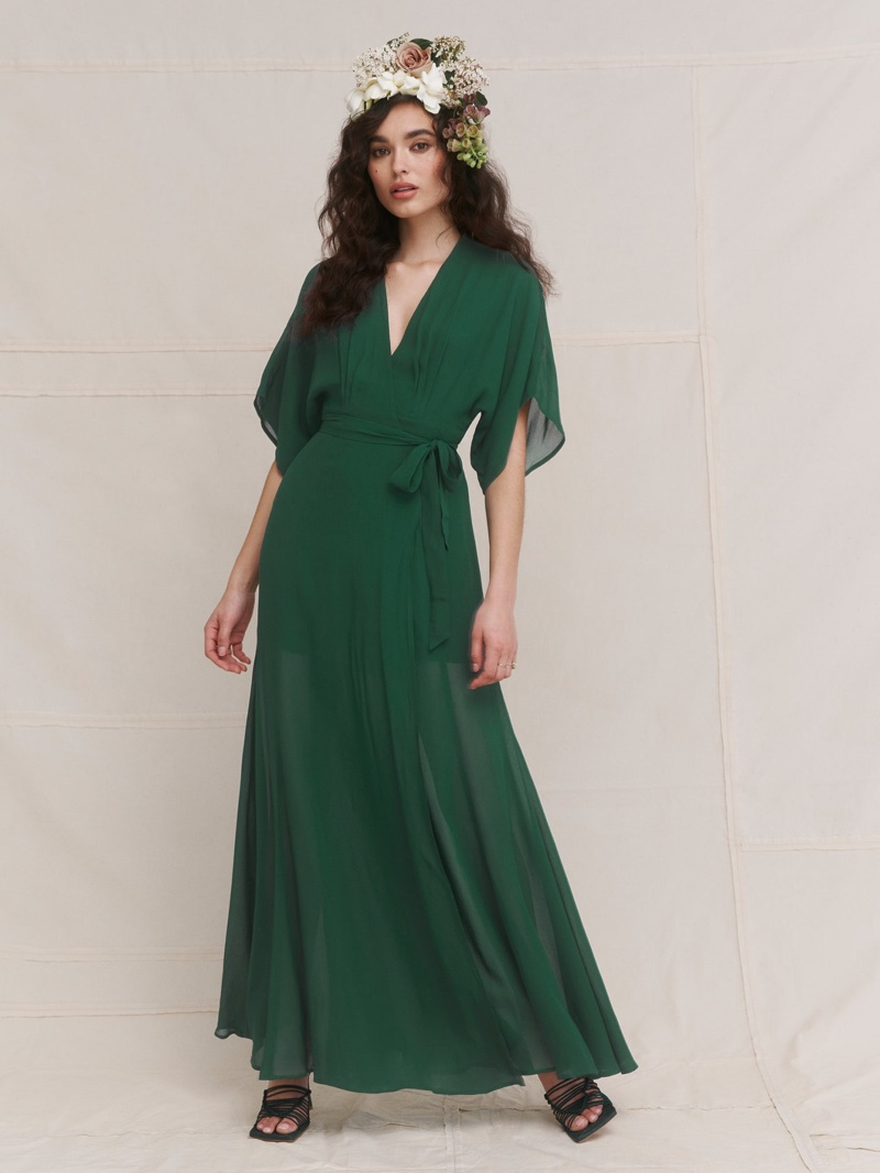 Reformation Winslow Dress in Emerald $278