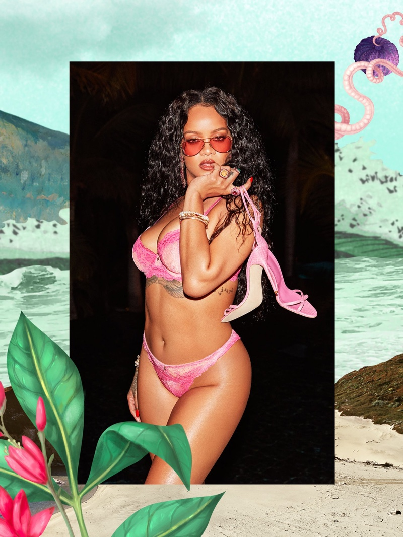 Clad in pink, Rihanna fronts Savage x Fenty July 2020 lingerie campaign.