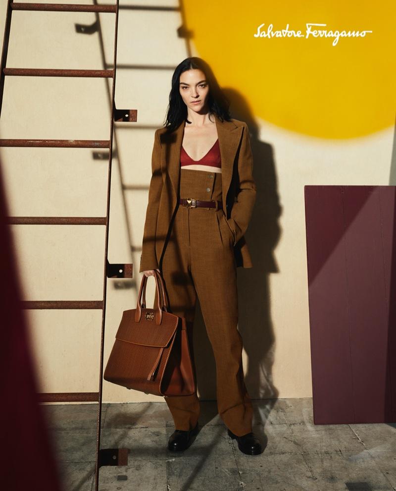 Mariacarla Boscono stars in Salvatore Ferragamo fall-winter 2020 campaign.