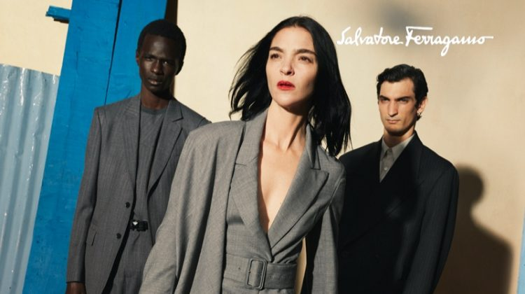 Mariacarla Boscono, Malick Bodian, and Luca Lemaire pose for Salvatore Ferragamo fall-winter 2020 campaign.
