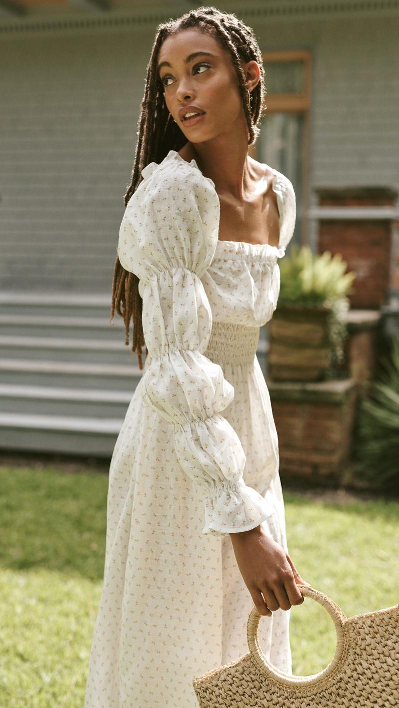 Sleeper Michelin Linen Dress Garden Rose $320