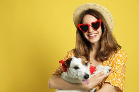 Smiling Woman Heart Sunglasses Hat Holding Jack Russell Terrier Dog