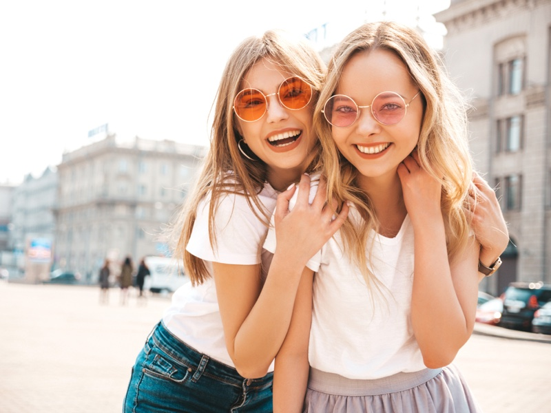 Smiling Young Women Sunglasses T-Shirts