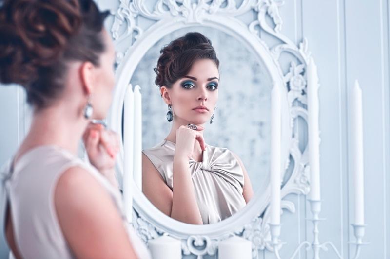 Stylish Woman Looking Mirror Brunette Elegant