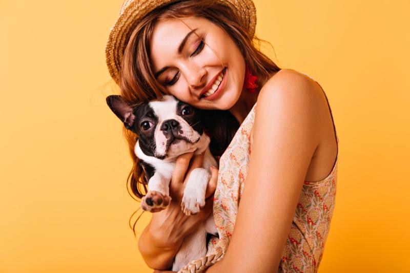 Stylish Woman Smiling Dog