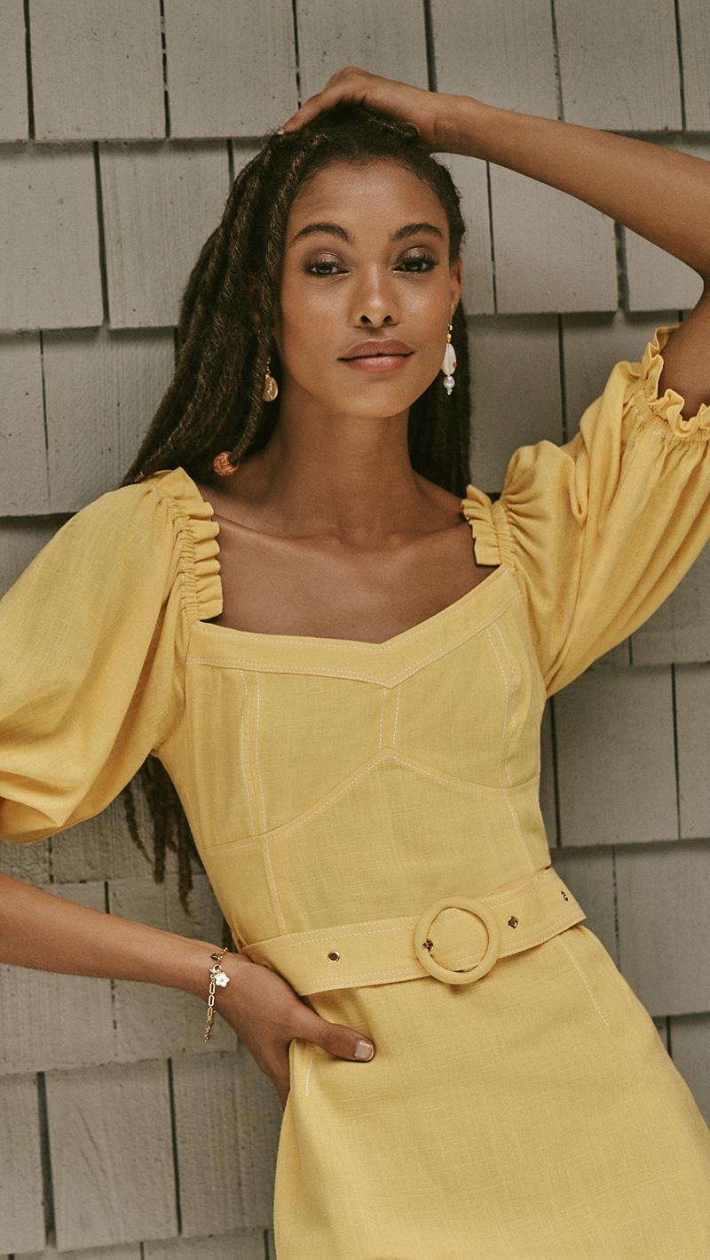 Suboo Ines Linen Balloon Sleeve Mini Dress $220