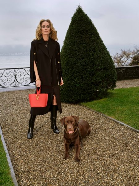 Model Georgina Grenville appears in Versace pre-fall 2020 campaign.