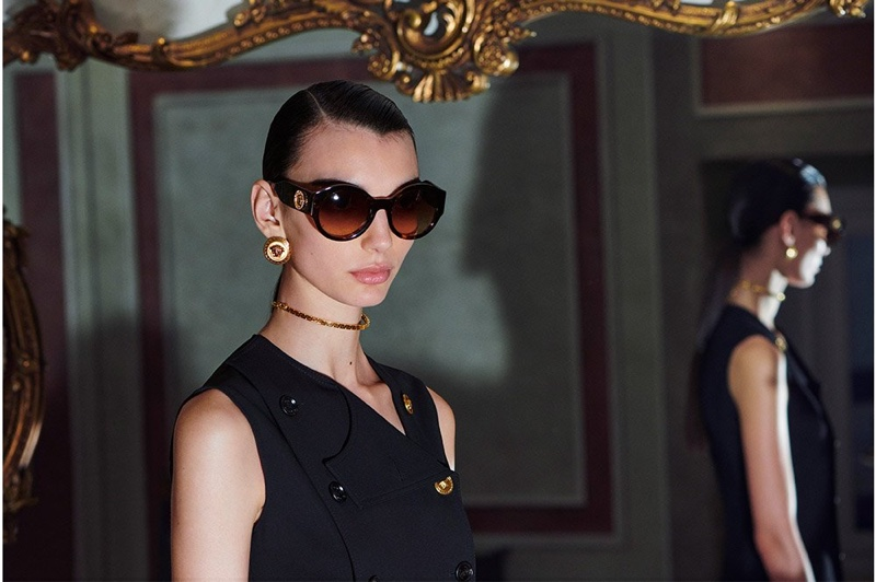 Sunglasses stand out in Versace pre-fall 2020 campaign.