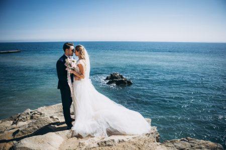 Wedding Picture Bride Groom Cliff Ocean