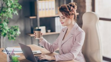 Well Dressed Woman Blazer Coffee Laptop