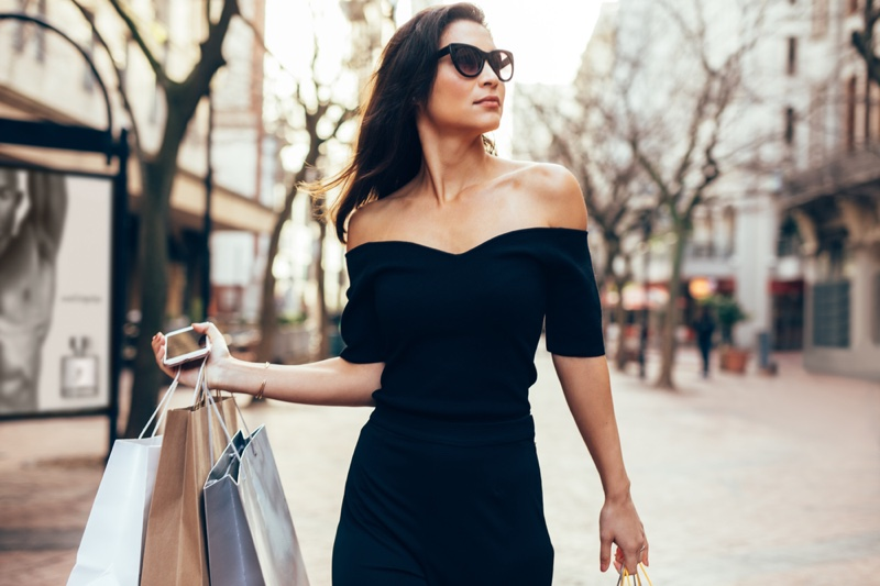 Woman Black Dress Shopping Bags Off Shoulder