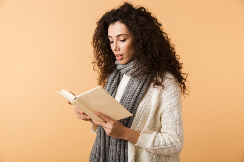 Woman Curly Hair Reading Book Sweater Knit Scarf