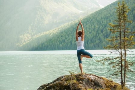 Woman Meditating Yoga Nature Outdoors