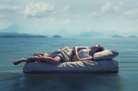 Woman Sleeping Mattress Water