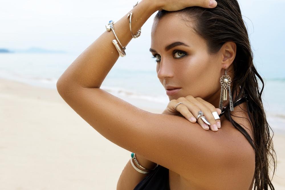 Woman Wearing Jewelry at Beach