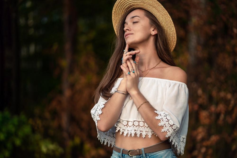 Woman Wearing Silver Jewelry