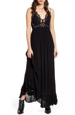 Women's Free People Adella Maxi Slipdress, Size X-Small - Black