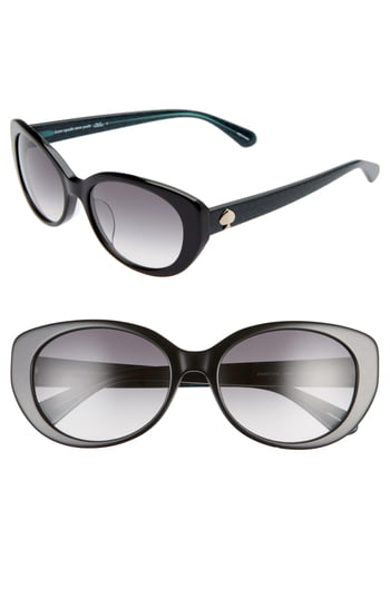 Women's Kate Spade New York Everett 56mm Special Fit Gradient Cat Eye Sunglasses - Black/ Dkgrey Gradient