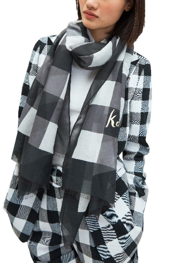 Women's Kate Spade New York Party Plaid Print Oblong Scarf, Size One Size - Black