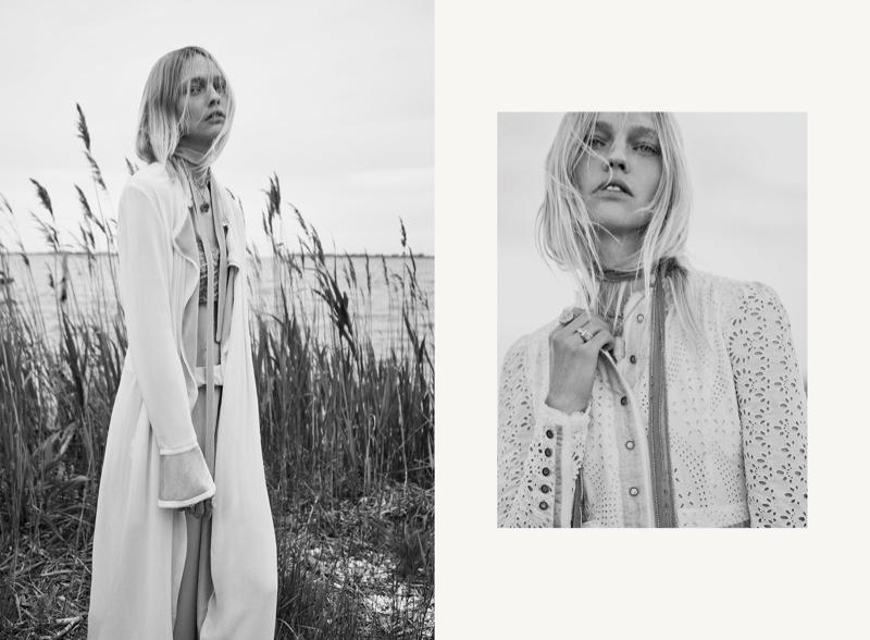 Posing in black and white, Sasha Pivovarova models Zara's fall 2020 collection.