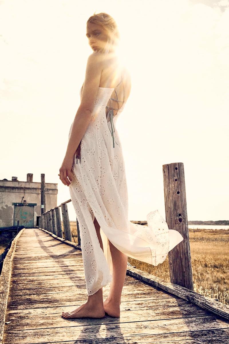 Sasha Pivovarova Embraces Zara's Boho Chic Styles