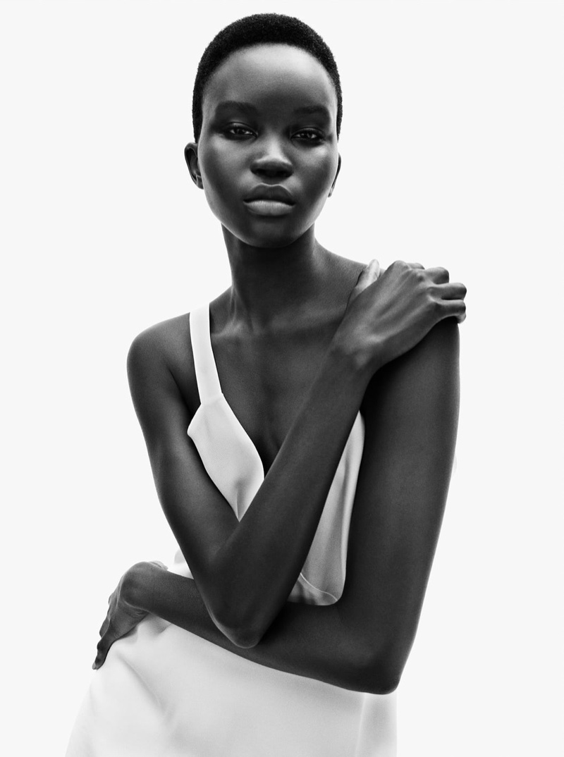 Achenrin Madit models Zara's fall 2020 collection.