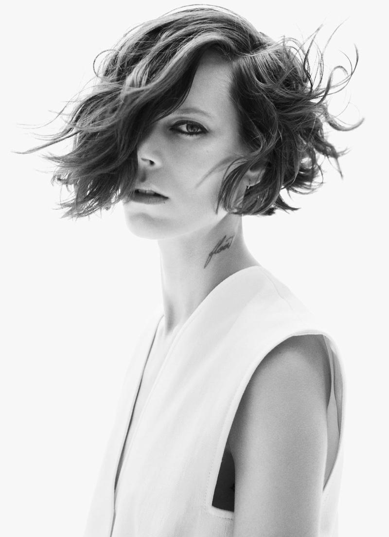 Freja Beha Erichsen poses in Zara fall 2020 collection.