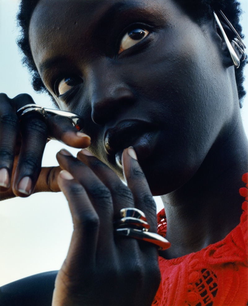 Anok Yai gets her closeup in Alexander McQueen fall-winter 2020 campaign.