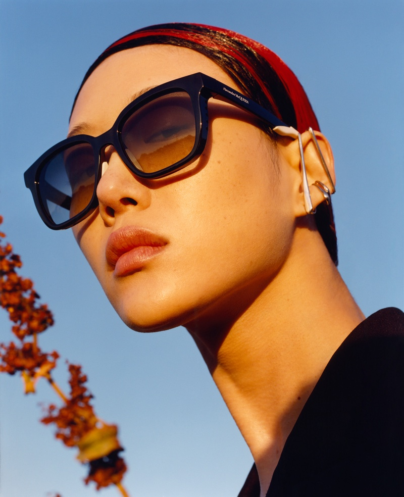 Sora Choi wears sunglasses in Alexander McQueen fall-winter 2020 campaign.