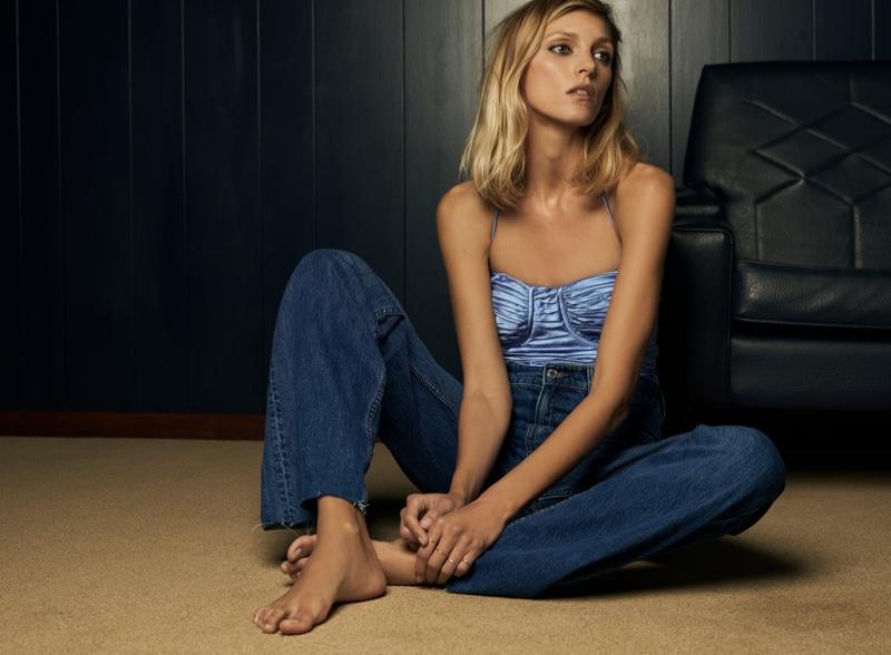 Zara Draped Bodysuit and Jeans.