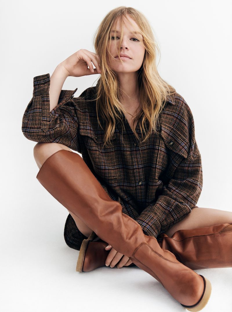 Anna Ewers rocks plaid in Marc O'Polo fall-winter 2020 campaign.