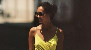 Anthropologie Giverny Midi Slip Dress in Neon Citron $138