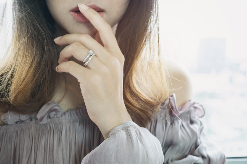 Asian Model Cropped Wedding Engagement Rings