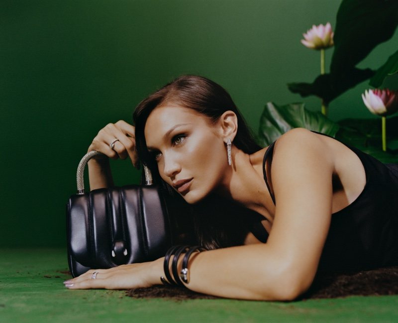 Model Bella Hadid fronts Bulgari x Ambush collaboration campaign.
