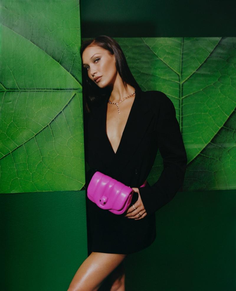 Supermodel Bella Hadid appears in Bulgari x Ambush campaign.