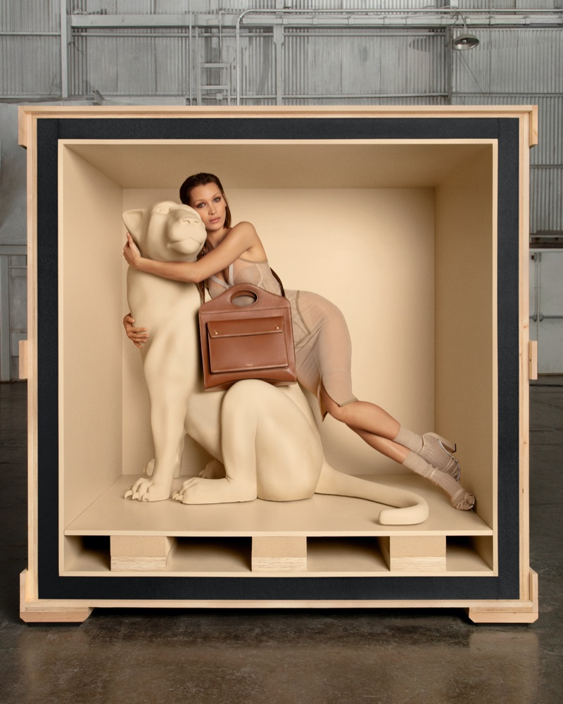 Bella Hadid appears in Burberry Pocket bag campaign.