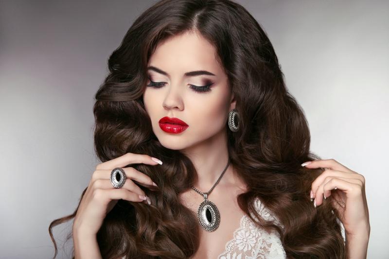 Brunette Model Long Wavy Hair Red Lipstick Silver Jewelry Beauty