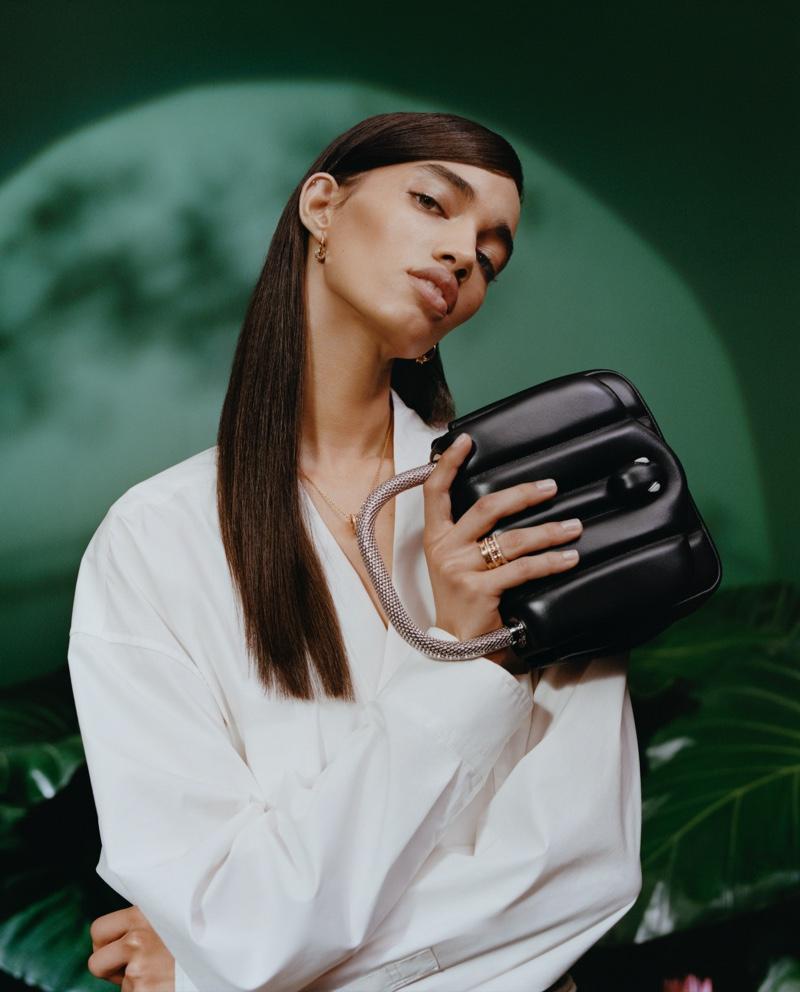 Ellen Rosa fronts Bulgari x Ambush accessories campaign.
