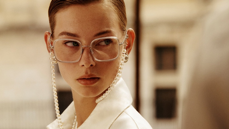Chanel focuses on Square Eyeglasses with glass pearls.